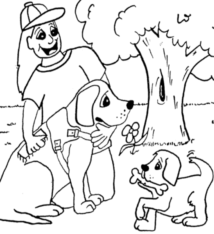 An image of a picture to be downloaded and drawn. The image features a girl and 2 dogs under a tree