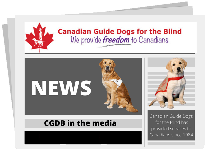 An image of a newspaper featuring Canadian Guide Dogs for the Blind