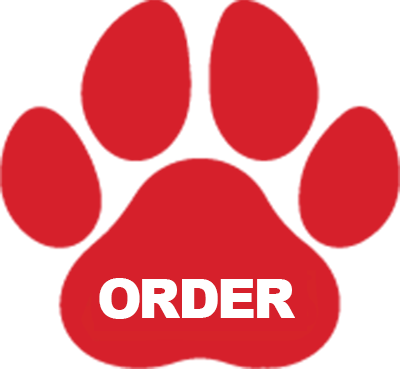 an order button in the shape of a dog paw