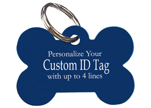 An image of a Blue Pet tag in the shape of dog bone with the text Personalize your custom ID tag with up to 4 lines